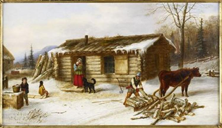 Chopping Logs Outside a Snow Covered Log Cabin oil painting by Cornelius Krieghoff